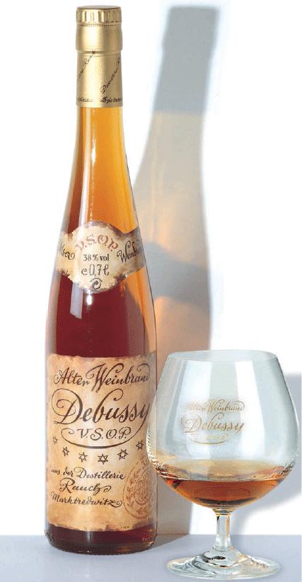 Debussy-Flasche mit Glas
